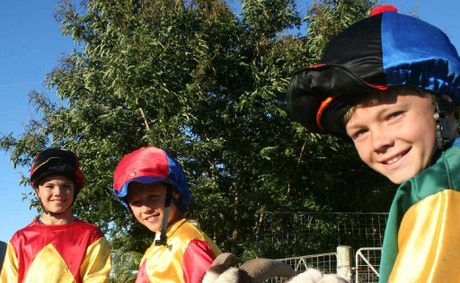 From left, Robbie, 13, Troy, 12, and Trent Richardson, 11, gear up to race each other in the Billy Goat Cart Races at the Yeppoon show on Sunday.