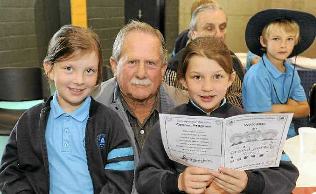 Alana Luczka, Darrell Stevens and Claudia Luczka at the Grandparents Day at the Bundaberg Christian College.