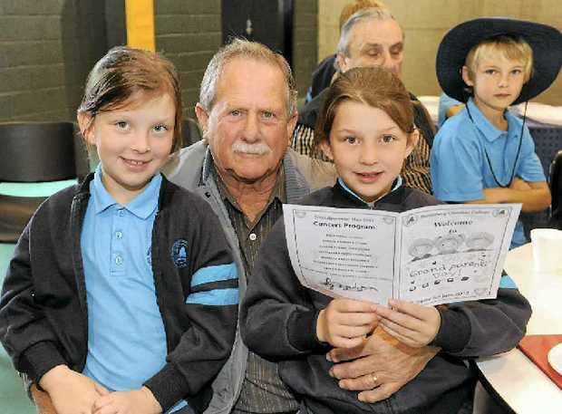 Alana Luczka, Darrell Stevens and Claudia Luczka at the Grandparents Day at the Bundaberg Christian College.