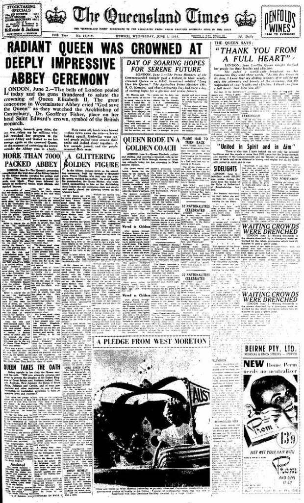 Coverage of the Queen's coronation dominated the front and inside pages of the QT on Wednesday, June 3, 1953. The paper reported that a 'spontaneous enthusiasm' gripped locals.