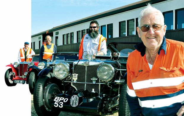 (From left) Jeff Newey, Ross Kelly and Southern Downs Steam Railway president John Brady will all hit the track today.