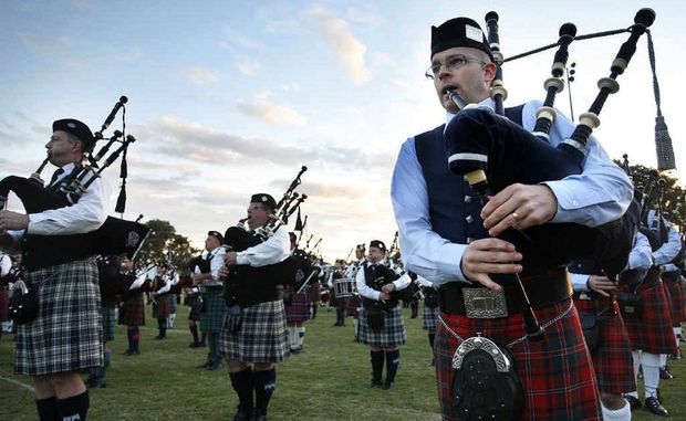 Pipe Major Jason Palfrey, from the Grade 1 winning Queensland Highlanders, sets the air ringing at the Gathering of the Clans.