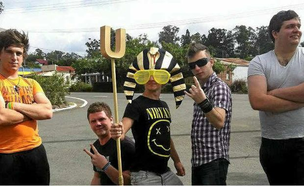(from left) Leo Nel, Mat Vels, the pharaoh mascot in all his golden glory, Blair Thompson and Alex Bielby.