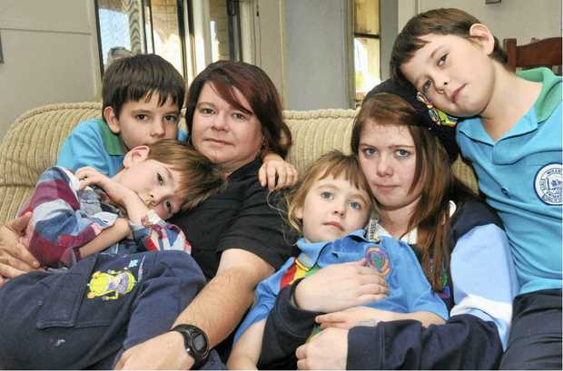 Megan Norris and her children (from left) Lachlan, 9, Nathaniel, 5, Chelsea, 4, Brooke, 16, and Dominic, 9, hope they can find another rental in the Pioneer Valley but time is running out.