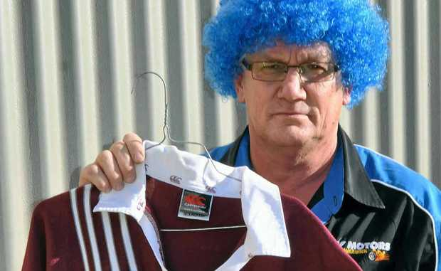 David Kemp lost his Origin bet and ended up wearing a blue wig for the duration of yesterday instead of his beloved Maroons jersey.