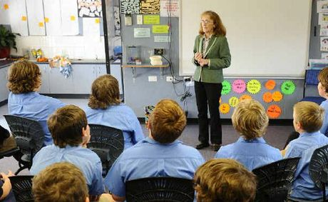 Page MP Janelle Saffin talks to students at St Mary's school in Grafton to help them with study on government in Australia.