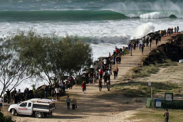 Onlookers and surfers gathered to watch as a resurgent Kirra Point swelled last week.