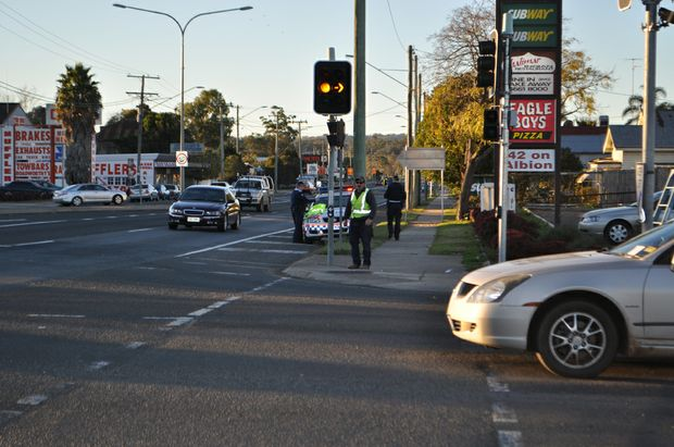 Traffic lights at the intersection of Albion and Fitzroy Sts.