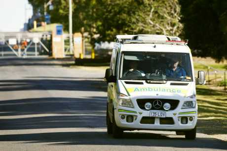 A man is on the loose after robbing an ambulance officer of drugs at knifepoint in Anakie.
