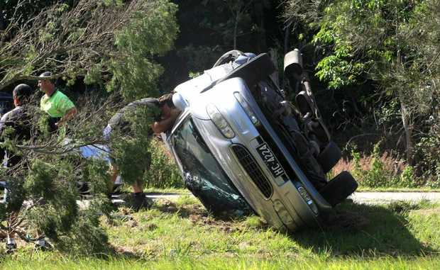 A car rolled on the Pacific Hwy near Tweed Heads South.