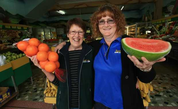 Leonie Smith with Tweed Fruit Exchange owner Maree Pouloudis.