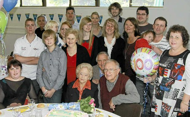 HAPPY DAY: Marjorie Anthony celebrated her 100th with family and friends. Photo Lynne Mowbray