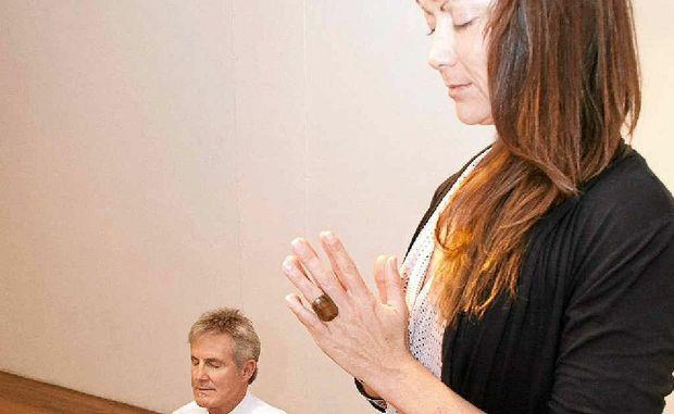Natasha Patten teaches Paul Hackney the art of meditation.