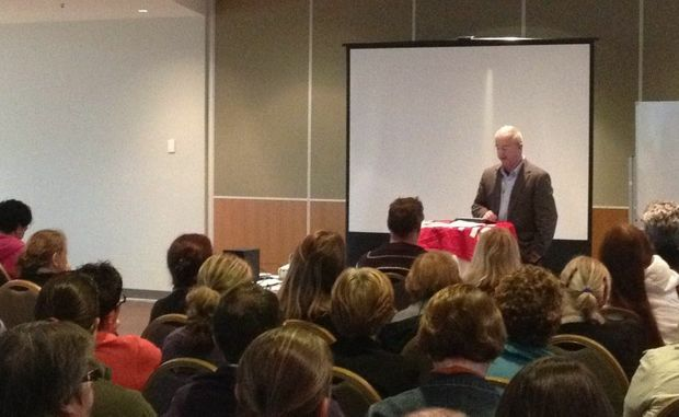 Teachers gathered at Twin Towns Services Club to discuss concerns over principals being handed more budget powers.