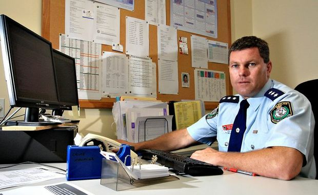Shane Diehm, pictured while he was serving as crime manager for the Tweed-Byron Local Area Command.