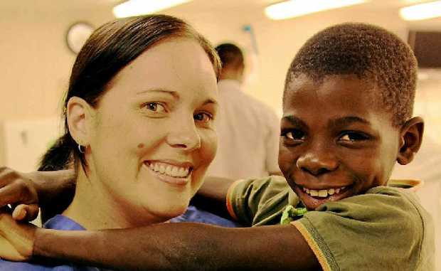 Rinnah Fry with a happy African patient.