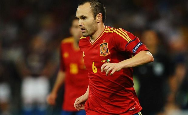 Andres Iniesta with the ball during the UEFA EURO 2012 final match between Spain and Italy at the Olympic Stadium on July 1 in Kiev, Ukraine.