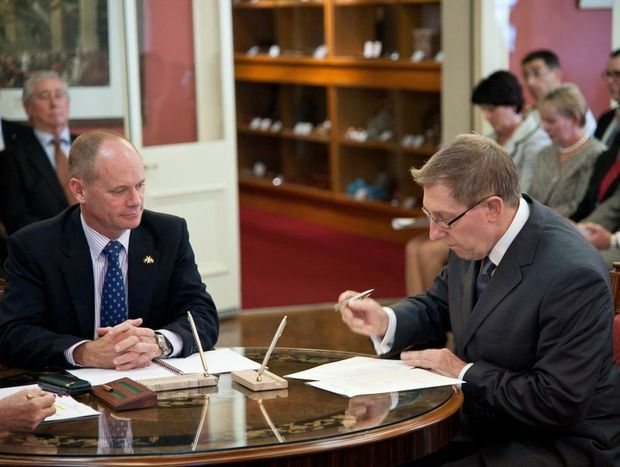 Bruce Flegg at the swearing in of Cabinet Ministers with Premier Campbell Newman.