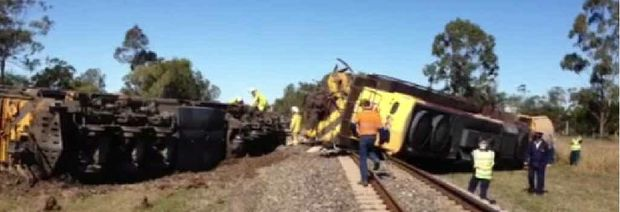 No one was seriously hurt when a train and cement truck collided at a level crossing.