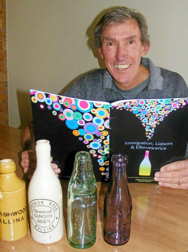 Geoff Kinkead with his book on the history of local cordial manufacturers and some of the bottles in his collection.