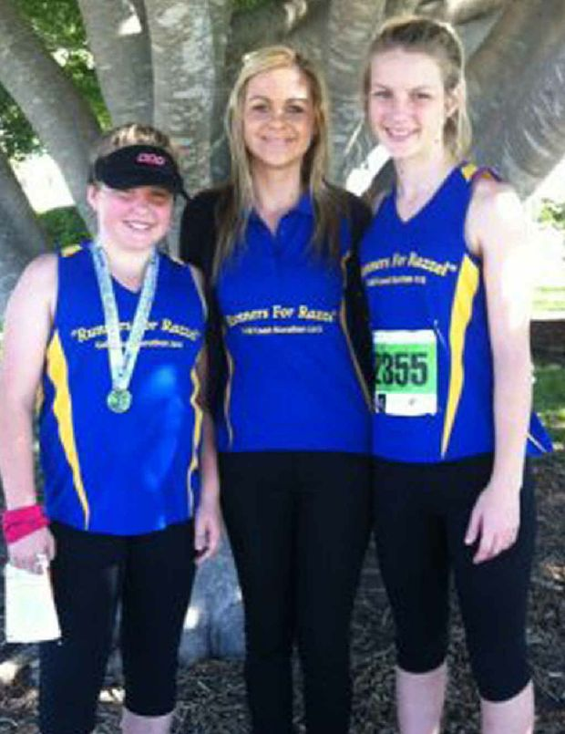 FUN RUN: Emily Twidale (granddaughter), Elle McGuire (great-niece), Erin Twidale (granddaughter), relatives of the late Rae Twidale, ran in the Gold Coast Marathon on Sunday along with many other family members.