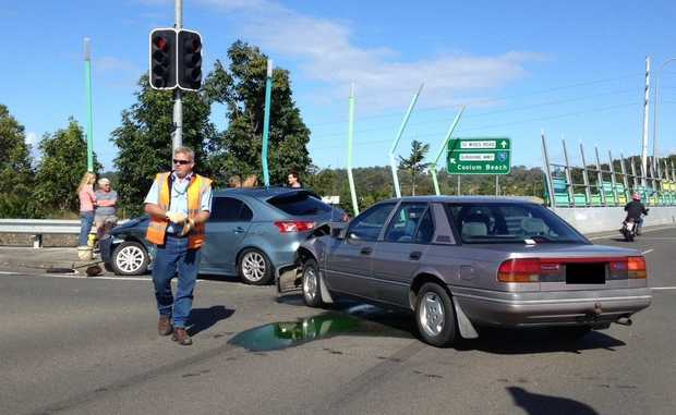 Traffic banksup after a two car crash in Maroochydore on Friday.