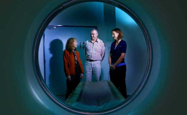 Page MP Janelle Saffin with Clarence Valley Imaging North Coast Radiology owner John Mulholland and Sharon Powell talking about the eligibility licence for MRI scanning to be available in Grafton. Photo: Adam Hourigan