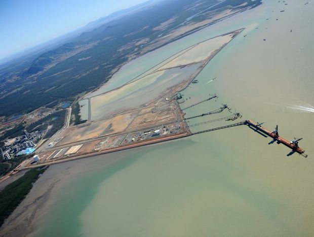 An aerial View of Fisherman's Landing in Gladstone Harbour.