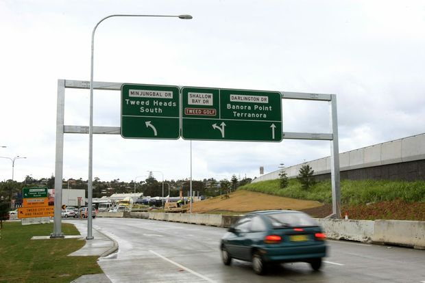 The South Tweed exit ramp has a new sign - right across the top.