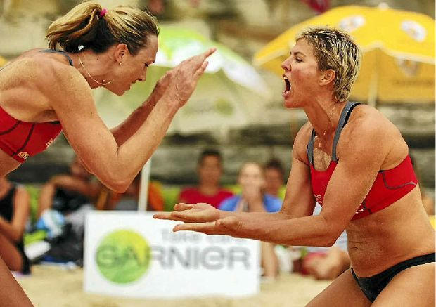 Australian beach volleyball player Natalie Cook (right) will be in Mackay in September.