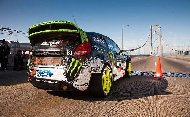 "Ken Block ""hoons"" through the streets of San Francisco."