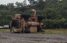 Army truck rollover at Hay Point this morning.