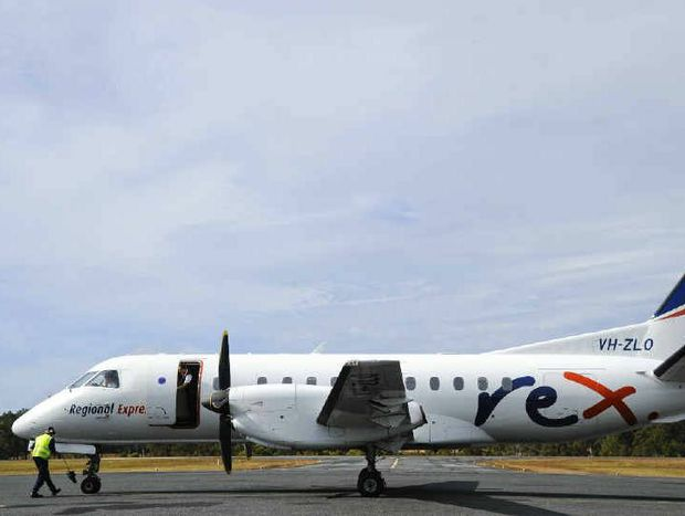 A REX flight arrives at Grafton.