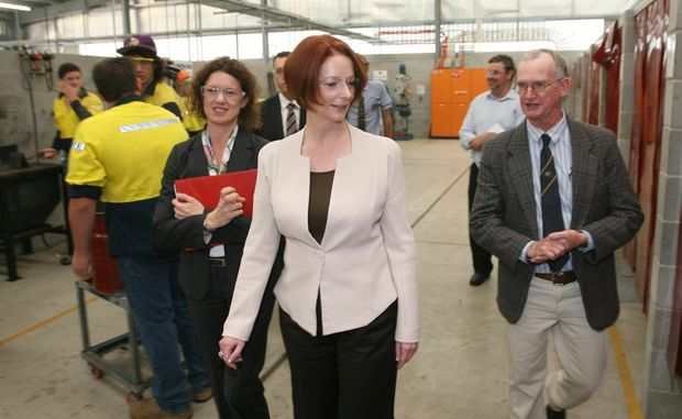 Prime Minister Julia Gillard and local member Kirsten Livermore in the new manual arts block at Rockhampton High School.