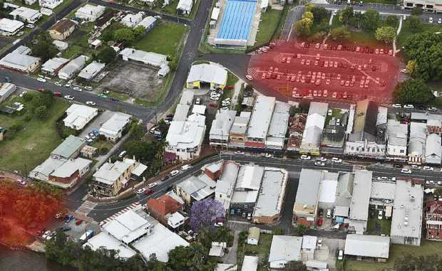 Shaded area in top right location for IGA, other shaded area is McLachlan Park.