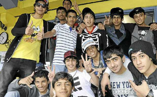 STOKED: Some of the teenage boys from Abu Dhabi who are visiting Byron Shire.
