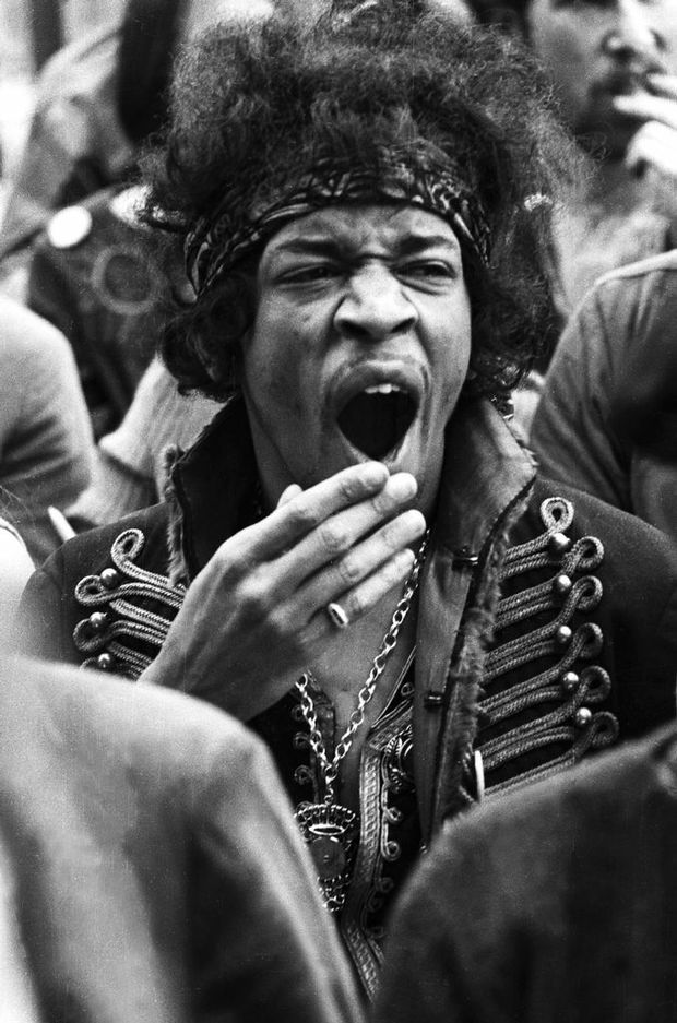 Jimi Hendrix captured at the Monterey Pop Festival, June 1967 by photographer Colin Beard.