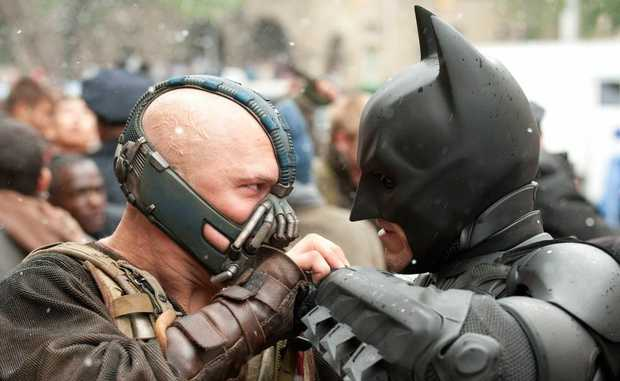 Tom Hardy, left, and Christian Bale in a scene from the movie The Dark Knight Rises.