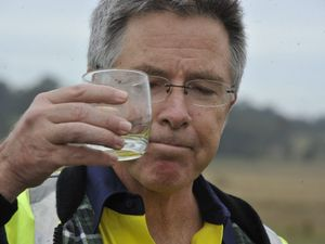 Managing Director of Metgasco Peter Henderson at the Metgasco site at Pollock Road, Shannon Brook, drinking produced water from CSG exploration. Photo Cathy Adams / The Northern Star