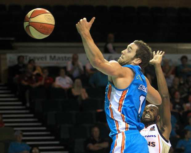 Action from the IINET NBL round 2 clash between the Gold Coast Blaze and Cairns Taipans.