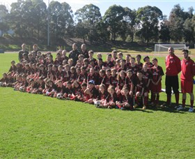 Group Picture of players attending the AC Milan Soccer Camp in Sydney Olympic Park, Homebush