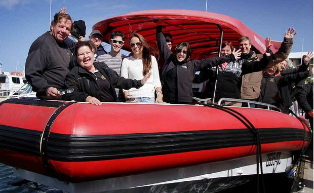 Brian and Jill Perry with excited whale watchers aboard That's Awesome yesterday.