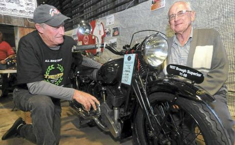 Bob Inkson (left) with Alf Smith and his 1937 Brough Superior 11-50, which he bought when he was 18 for 20 pounds. Mr Smith displayed his unique bike at the Mackay All Bike Show at the weekend.