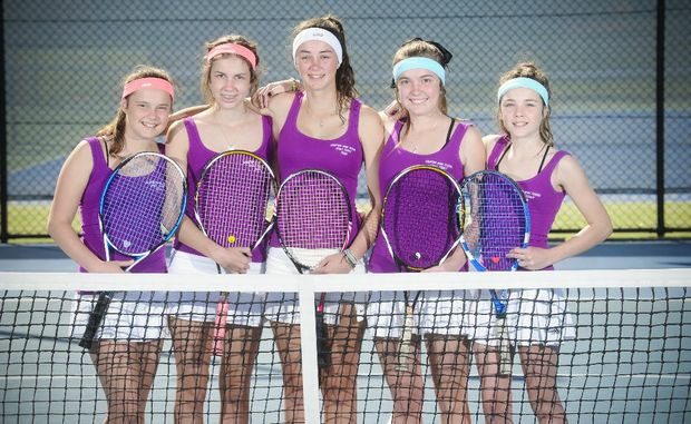 Grafton High tennis team Georgia Allen, Taylor Wilkes, Brittany Huxley, Emily Allen and  Rachel Fahey - winners of CHS girls tennis title