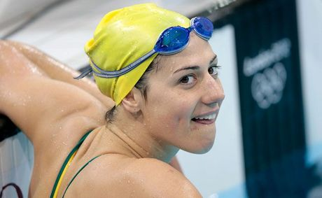 Stephanie Rice of Australia looks on during a training session ahead of the London Olympic Games