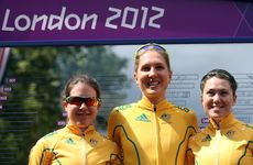 Shara Gillow (centre) has finished in 39th place in the women's road race.