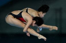 Hao Wang and Chen Rouling of China have won the gold in the synchronised 10 metre platform.