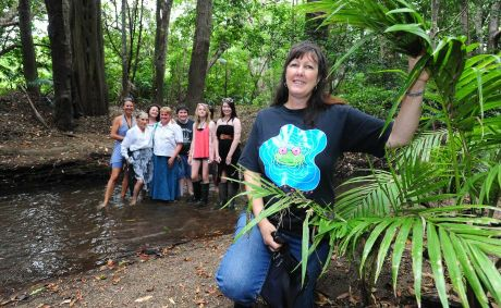Jan Kesby (far right), with volunteers helping with frog workshops along the Mooloolah river.