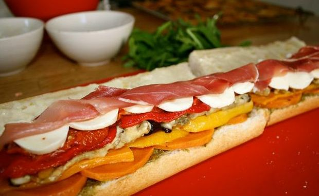 Miss Foodie's Gourmet Roasted Vegetable Baguettte.