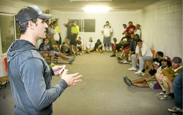 Former Origin star Trent Barrett gives the Lower Clarence Magpies a pep talk.